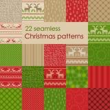 Set Weihnachtsnahtlose Muster Auch im corel abgehobenen Betrag Lizenzfreies Stockfoto