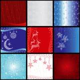 Set Weihnachtsschneeflockehintergrund Lizenzfreies Stockfoto