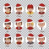 Set Weihnachtszeichen Satz des Avatarabüroteams in den Weihnachtshüten Charaktere in den Weihnachtskappen Der verzierte Pelzbaum stock abbildung