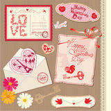 Set Weinlese-Valentinsgruß-Tagespostkarten Stockbilder