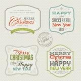 Set Weinlese Weihnachts- und des neuen Jahreskarten Lizenzfreies Stockbild