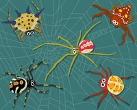 Set of Weird Spiders on Spider Web stock illustration