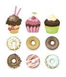 Set wektorów obrazkowi cukierki Donuts i babeczki ilustracja wektor