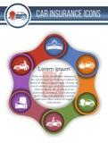 Set 8 wektorów ryzyka i ubezpieczenia samochodu ikony ilustracja wektor