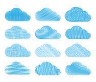Set wektor chmurnieje z różnymi typ ołówkowy podcieniowanie Obraz Stock