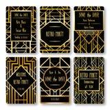 Set wektor karty szablony w art deco stylu Obrazy Stock