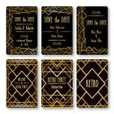 Set wektor karty szablony w art deco stylu Zdjęcie Royalty Free