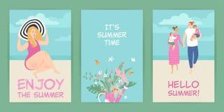 Set wektor karty z lato ilustracjami ?liczny charakter i kwiaty royalty ilustracja