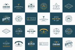 Set wektor plaży morza baru lato i elementy royalty ilustracja