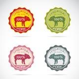 Set wektorowa świniowata etykietka Obrazy Royalty Free