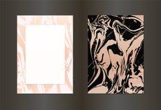 Set wektorowa elegancka czarna i złocista broszurka, ślubna zaproszenie karta, tło, pokrywa Projekta szablon z marmurem royalty ilustracja