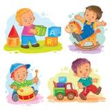 Set wektorowa ikony chłopiec bawić się z zabawkami Obraz Stock