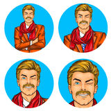 Set wektorowa ilustracja, mężczyzna wystrzału sztuki avatars round ikony ilustracji