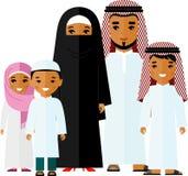 Set wektorowa kolorowa ilustracja arabska rodzina w krajowym kostiumu ilustracja wektor