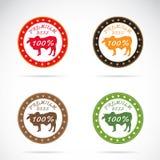 Set wektorowa krowy etykietka Obrazy Royalty Free