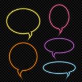 Set wektorowa neonowa rozmowa gulgocze, jaskrawi barwioni zarysowani rozjarzeni neonowi mowa bąble ilustracja wektor