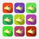 Set wektorowa płaska ikona wręcza eps Zdjęcie Stock