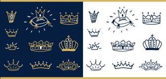 Set wektorowa ręka rysować korony Doodle ilustracje z kredową teksturą Fotografia Royalty Free