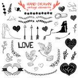 Set WEKTOROWA ręka rysujący roczników elementy, czarni rysunki Obraz Royalty Free