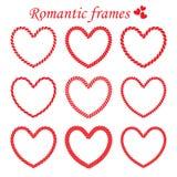 Set wektorowa romantyczna kręcona rama Zdjęcie Royalty Free