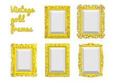 Set wektorowa złota rocznik rama Obrazy Royalty Free