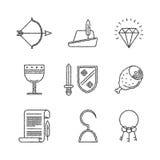 Set wektorowe średniowieczne ikony w nakreślenie stylu Zdjęcie Stock