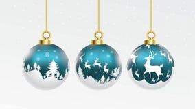 Set wektorowe błękita i białych bożych narodzeń piłki z ornamentami glansowanej kolekcji odosobnione realistyczne dekoracje równi ilustracja wektor