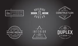 Set Wektorowe budowa budynku ikony Stwarza ognisko domowe i naprawa może używać jako logo Fotografia Stock