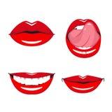 Set wektorowe czerwone wargi Obraz Stock