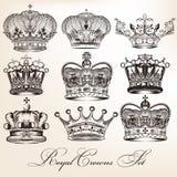 Set wektorowe dekoracyjne heraldyczne korony w rocznika stylu Zdjęcia Stock