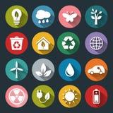Set wektorowe Eco ikony w mieszkanie stylu ilustracja wektor