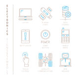 Set wektorowe elektronika ikony, pojęcia w mono cienkim kreskowym stylu i royalty ilustracja
