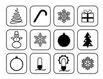 Set wektorowe ikony dla bożych narodzeń i nowego roku Ilustracji