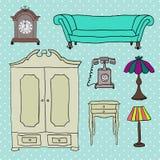 Set wektorowe ikony dla żywego pokoju Zdjęcia Stock