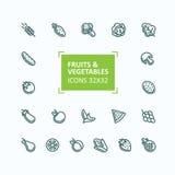 Set wektorowe ikony owoc i warzywo w stylu cienkiej linii, editable uderzenie ilustracji