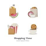 Set wektorowe ikony płaskie z torba na zakupy ilustracji