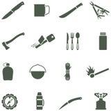 Set wektorowe ikony z campingowym wyposażeniem i acc Zdjęcie Royalty Free