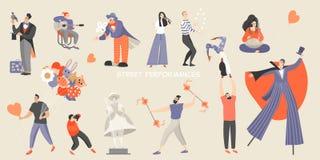 Set wektorowe ilustracje różnorodni uliczni występy Duży festiwal uliczna kultura i rozrywka ilustracja wektor