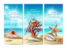 Set wektorowe ilustracje, sztandary lato piaskowata plaża z seashells, otoczaki, rozgwiazda, krab i koral, royalty ilustracja