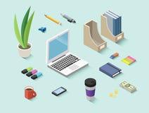 Set wektorowe isometric biurowe rzeczy, materiały ikony fotografia royalty free