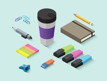Set wektorowe isometric biurowe rzeczy, materiały ikony Obraz Royalty Free