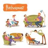 Set wektorowe kreskówek ilustracje pacjent opowiada z psychoterapeuta Obraz Stock