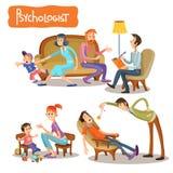 Set wektorowe kreskówek ilustracje pacjent opowiada z psychoterapeuta Obrazy Stock