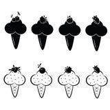 Set wektorowe lody ikony Zdjęcia Royalty Free
