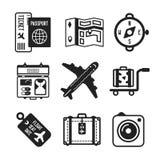 Set wektorowe monochromatyczne podróży ikony w mieszkanie stylu royalty ilustracja