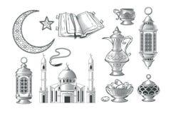 Set wektorowe muzułmańskie ilustracje, ikony dla modlitwy i Ramadan kareem w stylu rytownictwa, Obrazy Royalty Free
