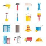 Set wektorowe płaskie budowy i budynku ikony Fotografia Royalty Free