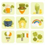 Set wektorowe płaskie ikony dla StPatricks dnia Fotografia Stock