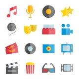 Set wektorowe płaskie muzyczne i kinowe ikony Obrazy Royalty Free