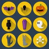 Set wektorowe płaskie projekta Halloween ikony Obrazy Stock